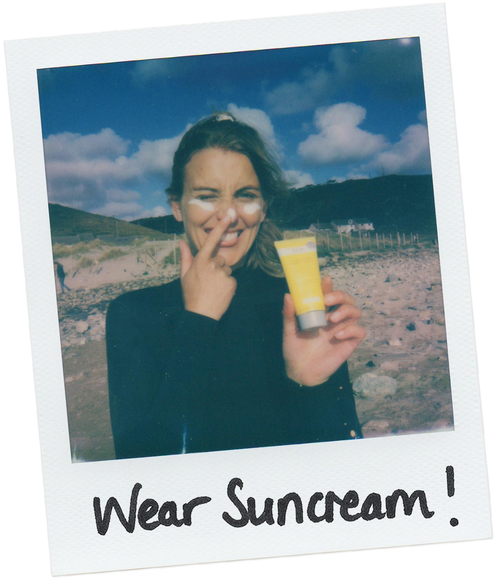 Polaroid series Sophie Hellyher surfing suncream