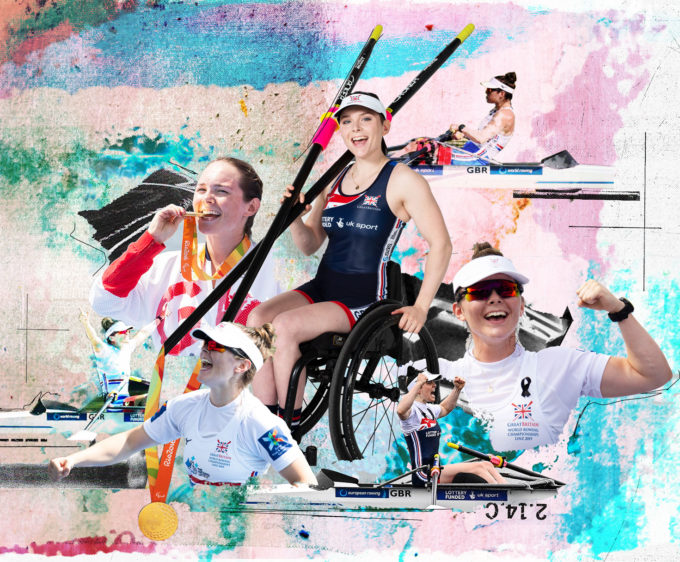 photomontage of female rower