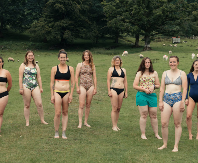 Women in swimsuits and bikini outside ready to go wild water swimming