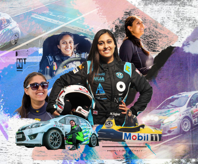 collage illustration racing driver