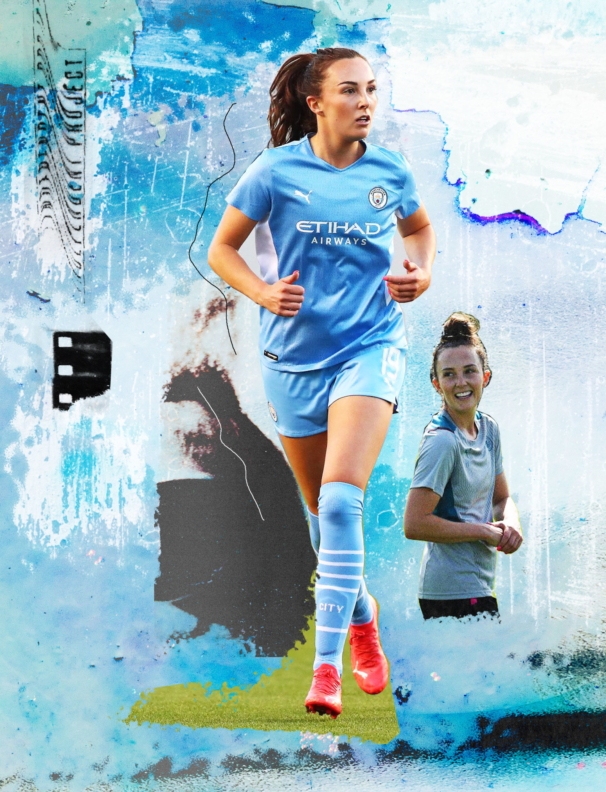 machester city football player collage