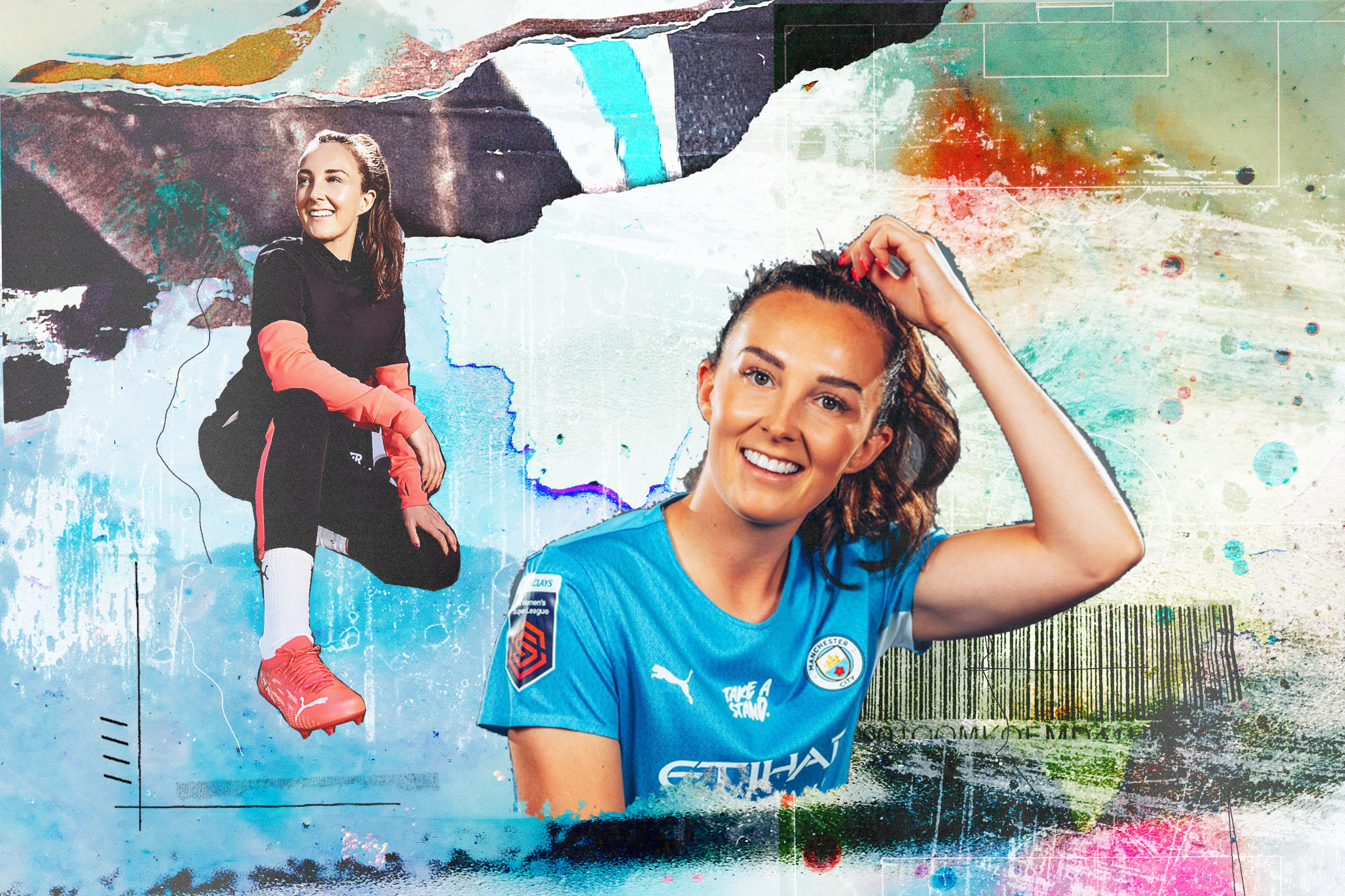 Female athlete illustration collage